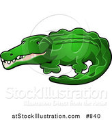Vector Illustration of a Green Alligator or Crocodile with His Snout Slightly Open by AtStockIllustration