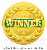 Vector Illustration of a Green and Gold Winner Badge with Stars and a Laurel Wreath by AtStockIllustration