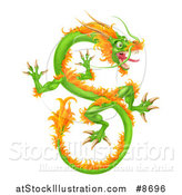 Vector Illustration of a Green and Orange Chinese Dragon Flying by AtStockIllustration
