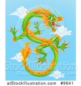 Vector Illustration of a Green and Orange Chinese Dragon Flying in a Blue Sky with Clouds by AtStockIllustration