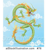 Vector Illustration of a Green and Orange Chinese Dragon Flying in the Sky by AtStockIllustration