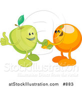 Vector Illustration of a Green Apple Shaking Hands with an Orange While Agreeing on a Business Deal by AtStockIllustration