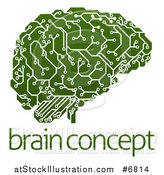 Vector Illustration of a Green Artificial Intelligence Circuit Board Brain over Sample Text by AtStockIllustration
