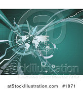 Vector Illustration of a Green Background with a World Map and Abstract Lines by AtStockIllustration