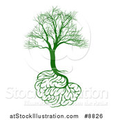 Vector Illustration of a Green Bare Tree with Brain Roots, Symbolizing Memory Loss by AtStockIllustration