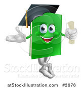 Vector Illustration of a Green Book Mascot Graduate by AtStockIllustration