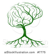 Vector Illustration of a Green Brain Canopied Tree with Roots by AtStockIllustration