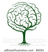 Vector Illustration of a Green Brain Tree by AtStockIllustration