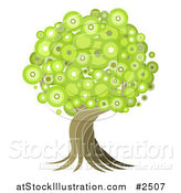 Vector Illustration of a Green Circle Foilage Tree with a Twisting Trunk by AtStockIllustration