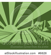 Vector Illustration of a Green Cottage Farmhouse Atop a Hill with Fields at Sunrise by AtStockIllustration