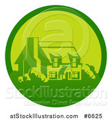 Vector Illustration of a Green Country Cottage House in a Circle by AtStockIllustration