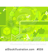 Vector Illustration of a Green Cubes and Octagons Background by AtStockIllustration