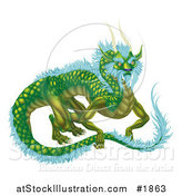 Vector Illustration of a Green Dragon with Icy Blue Feathers by AtStockIllustration