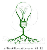 Vector Illustration of a Green Electric Light Bulb Tree and Roots by AtStockIllustration