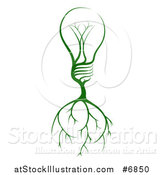 Vector Illustration of a Green Electric Light Bulb Tree with Roots by AtStockIllustration