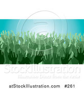 Vector Illustration of a Green Group of Silhouetted Hands in a Crowd by AtStockIllustration