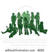Vector Illustration of a Green Group of Silhouetted People Hanging out in a Crowd by AtStockIllustration