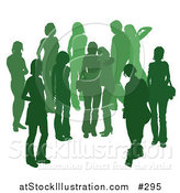 Vector Illustration of a Green Group of Silhouetted People Hanging out in a Crowd, Two Friends Embracing in the Middle by AtStockIllustration