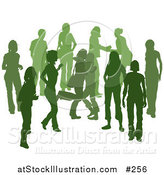 Vector Illustration of a Green Group of Silhouetted People Hanging out in a Crowd, Two Friends Hugging by AtStockIllustration