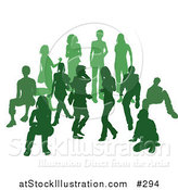 Vector Illustration of a Green Group of Silhouetted People in a Crowd by AtStockIllustration