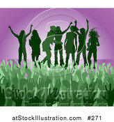 Vector Illustration of a Green Group of Silhouetted Women Raising Their Arms and Celebrating on Stage at a Concert by AtStockIllustration