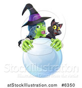 Vector Illustration of a Green Halloween Witch and Black Cat Behind a Crystal Ball by AtStockIllustration