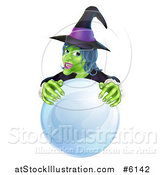 Vector Illustration of a Green Halloween Witch Behind a Crystal Ball by AtStockIllustration