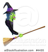 Vector Illustration of a Green Halloween Witch Holding a Broom and Pointing to a Sign Board by AtStockIllustration