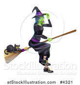 Vector Illustration of a Green Halloween Witch Tipping Her Hat and Flying with a Black Cat on a Broomstick by AtStockIllustration