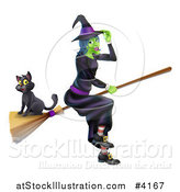 Vector Illustration of a Green Halloween Witch Tipping Her Hat and Flying with a Cat on a Broomstick by AtStockIllustration