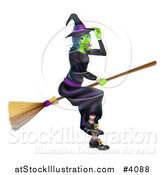 Vector Illustration of a Green Hallowen Witch Tipping Her Hat and Flying on a Broom by AtStockIllustration