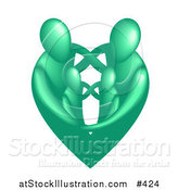 Vector Illustration of a Green Heart Family by AtStockIllustration