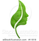 Vector Illustration of a Green Leaf and Profiled Face by AtStockIllustration