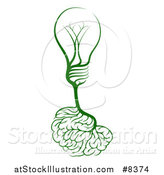 Vector Illustration of a Green Light Bulb Brain by AtStockIllustration