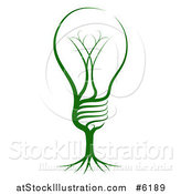 Vector Illustration of a Green Light Bulb with Tree Roots by AtStockIllustration