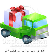 Vector Illustration of a Green Lorry Toy Truck Hauling a Christmas Present by AtStockIllustration