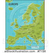 Vector Illustration of a Green Map of Europe with Country Names and Capital Cities by AtStockIllustration