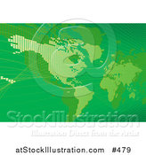 Vector Illustration of a Green Map of the Americas and Europe by AtStockIllustration
