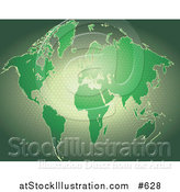 Vector Illustration of a Green Map of the World with a Honeycomb Pattern by AtStockIllustration
