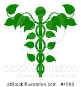 Vector Illustration of a Green Medical Dna Caduceus Plant by AtStockIllustration