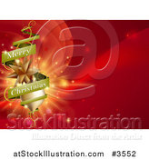 Vector Illustration of a Green Merry Christmas Banner Around Gold Ornaments on Red by AtStockIllustration