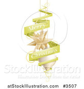 Vector Illustration of a Green Merry Christmas Banner with Ornaments by AtStockIllustration