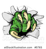 Vector Illustration of a Green Monster Claw Breaking Through a Wall by AtStockIllustration