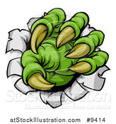 Vector Illustration of a Green Monster Claw Ripping Through Metal with Sharp Talons by AtStockIllustration