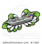 Vector Illustration of a Green Monster Claws Playing a Video Game with a Controller by AtStockIllustration