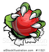Vector Illustration of a Green Monster Claws Ripping Through Metal with a Cricket Ball by AtStockIllustration