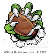 Vector Illustration of a Green Monster Claws Ripping Through Metal with a Football by AtStockIllustration