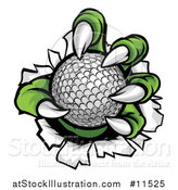 Vector Illustration of a Green Monster Claws Ripping Through Metal with a Golf Ball by AtStockIllustration