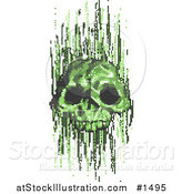 Vector Illustration of a Green Pixel Skull Virus by AtStockIllustration