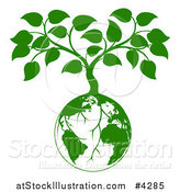 Vector Illustration of a Green Planet Earth Globe and Tree with Roots Growing from It by AtStockIllustration